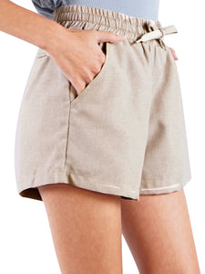 Stretch Drawstring Linen Pocket Shorts