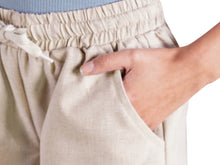 Load image into Gallery viewer, Stretch Drawstring Linen Pocket Shorts