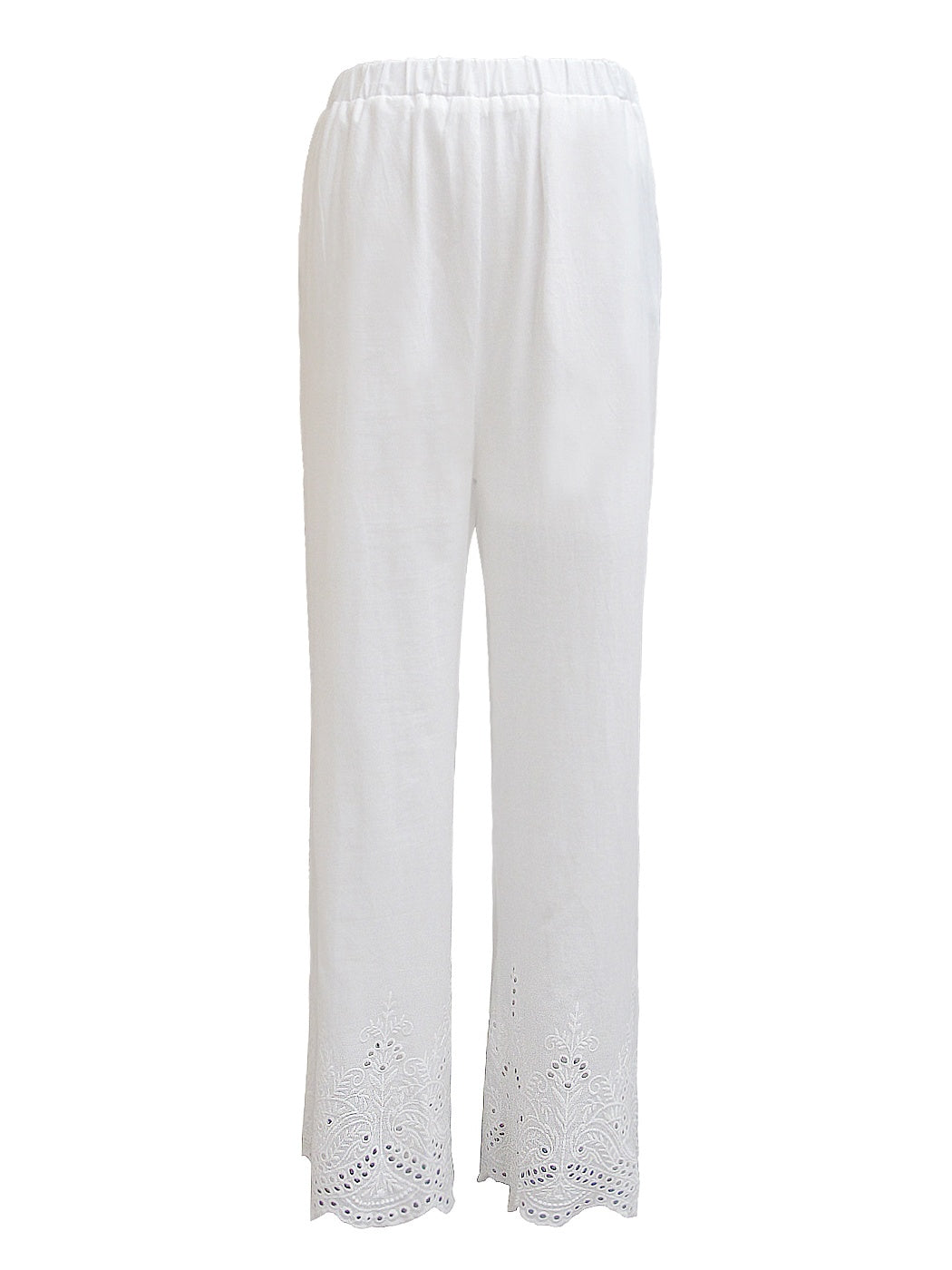 Anna-Kaci Womens Elastic Waist Loose Fit Casual Cotton Straight Leg Lounge Pants, White, Small