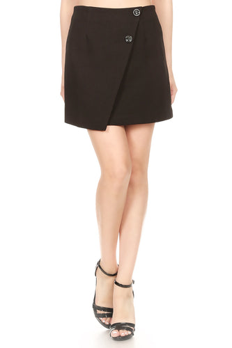 Anna-Kaci Junior Womens Short Asymmetrical Tulip Hem Faux Wrap Black Mini Skirt
