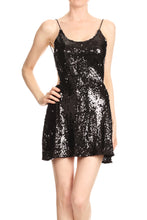 Load image into Gallery viewer, Open Back Sparkle Sequin Mini Dress