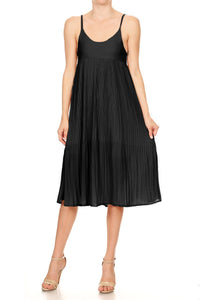 Anna-Kaci Womens Juniors Sleeveless Spaghetti Strap Pleated Midi Cocktail Dress