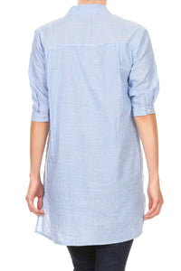 Anna-Kaci Womens Casual Woven Chambray Half Button up Long Stripe Shirt