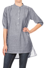 Load image into Gallery viewer, Anna-Kaci Womens Casual Woven Chambray Half Button up Long Stripe Shirt