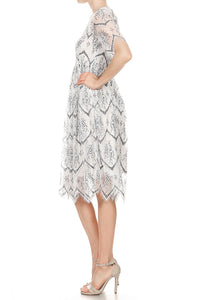 Anna-Kaci Juniors Swing Vintage Floral Lace Soft Zipper Lightweight Midi Dress, Grey, X-Large