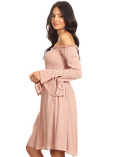 Load image into Gallery viewer, Anna-Kaci Womens Smocked Bodice Long Sleeve Off Shoulder Knee Length Tunic Dress, Pink, Small