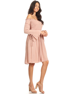 Anna-Kaci Womens Smocked Bodice Long Sleeve Off Shoulder Knee Length Tunic Dress, Pink, Small