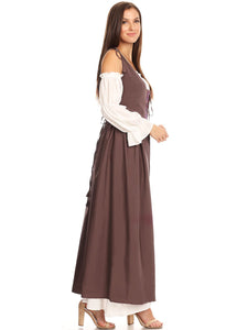 Renaissance Medieval/Irish Off-The-Shoulder Dress Set