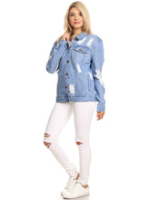 Load image into Gallery viewer, Distressed Boyfriend Jean Jacket