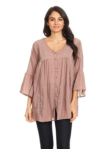 Anna-Kaci Womens Woven Crochet Button Plisse 3/4 Bell Sleeve Peasant Top,Mauve,Small
