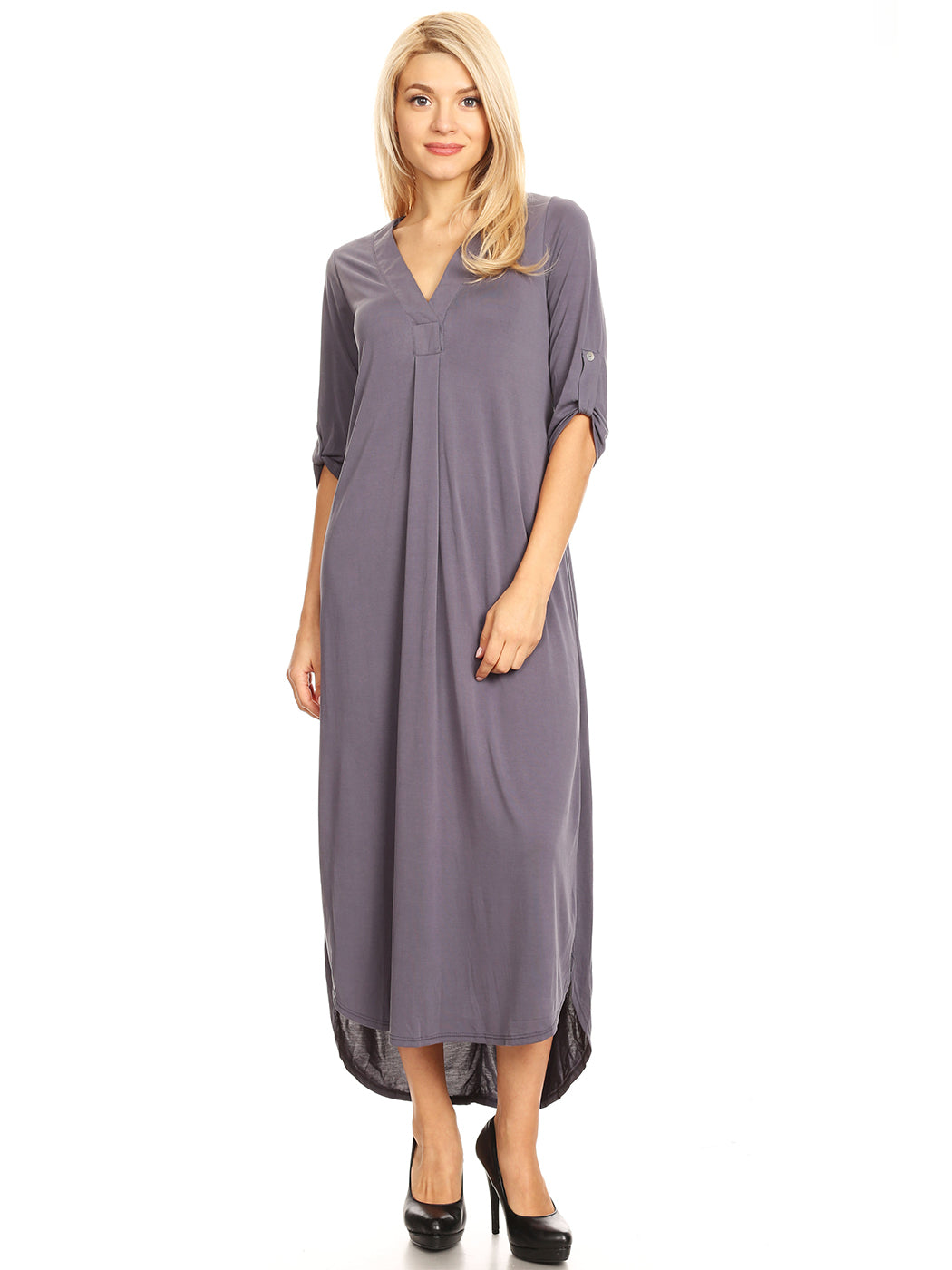 Casual Long V-Neck Maxi Dress