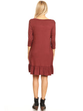 Load image into Gallery viewer, Button Down V-Neck Ruffle Tunic Dress