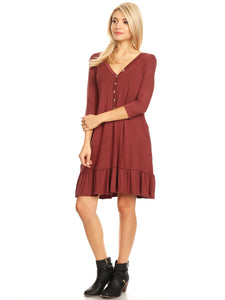 Button Down V-Neck Ruffle Tunic Dress