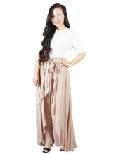 Load image into Gallery viewer, Ruffle Ribbon-Tie Palazzo Dressy Pants