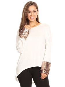 Sequin Sparkle Long Sleeve Cuff Top