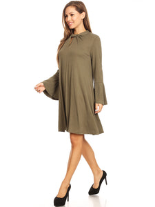 Long-Sleeve Keyhole Swing Dress