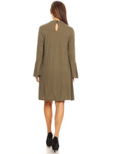 Load image into Gallery viewer, Long-Sleeve Keyhole Swing Dress