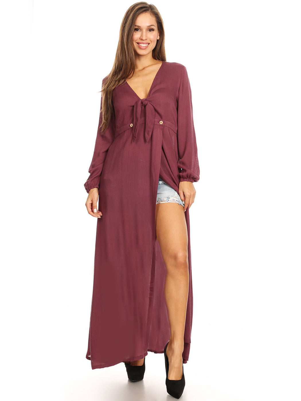 Long Sleeve V-Neck Loose Maxi Dress