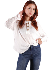 Waffle Button-Up Long Sleeve Shirt