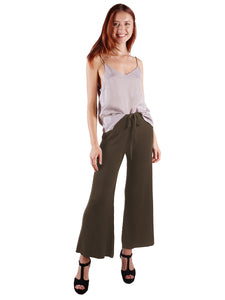 Cropped Wide Leg Pant With Drawstring Waist-Tie