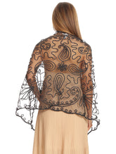 Load image into Gallery viewer, Floral Mesh Cover-Up Bolero Shawl