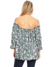Load image into Gallery viewer, Anna-Kaci Womens Semi Sheer Boho Peasant Long Sleeve Off The Shoulder Top, Green, X-Large