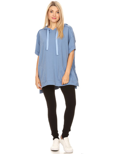 Anna-Kaci Womens Oversized Short Sleeve Hoodie Side Slits Pullover Sweater Top
