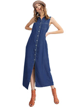 Load image into Gallery viewer, Classic Button-Down Collar Denim Shirt Dress