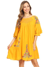 Load image into Gallery viewer, Floral Embroidered Bell Sleeve Accent Dress