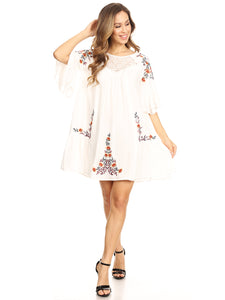 Floral Embroidered Bell Sleeve Accent Dress