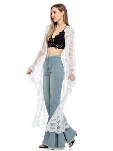 Lace Embroidered Kimono Swimsuit Cover-Up