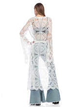 Load image into Gallery viewer, Lace Embroidered Kimono Swimsuit Cover-Up