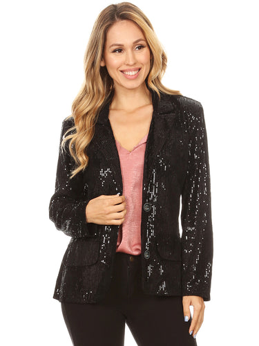 Evening Sparkle Sequins Blazer Jacket