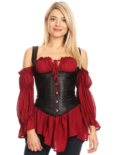 Steampunk Gothic Victorian Waist Cincher Underbust Costume Cosplay Corset Top,Brown with strap,X-Small