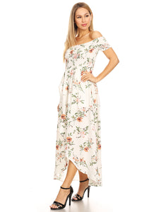 Casual Floral Off-The-Shoulder Maxi Dress