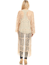Load image into Gallery viewer, Boho Fringe Crochet Cover-Up Cardigan