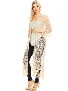 Boho Fringe Crochet Cover-Up Cardigan