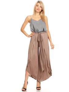 Boho High-Waist Split Wide Leg Capri