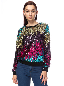 Sequin Long Sleeve Sparkly Pullover Sweatshirt
