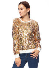 Load image into Gallery viewer, Sequin Long Sleeve Sparkly Pullover Sweatshirt