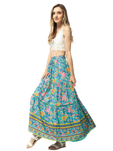 Sunflower Print Midi Maxi Skirt