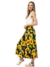 Load image into Gallery viewer, High-Waisted Pleated Sunflower Maxi Skirt