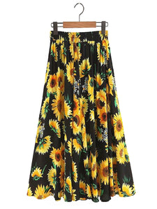 High-Waisted Pleated Sunflower Maxi Skirt