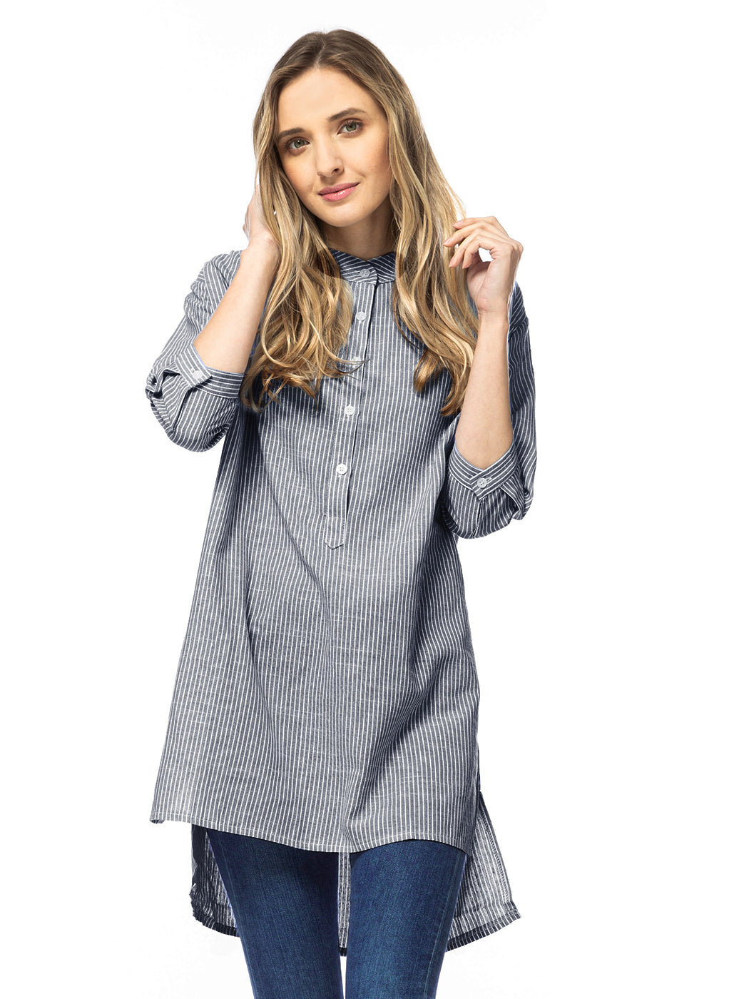 Casual Button Up Stripe Sleeves Shirt