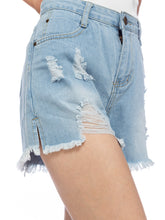 Load image into Gallery viewer, Ripped Mid-Rise Casual Denim Shorts