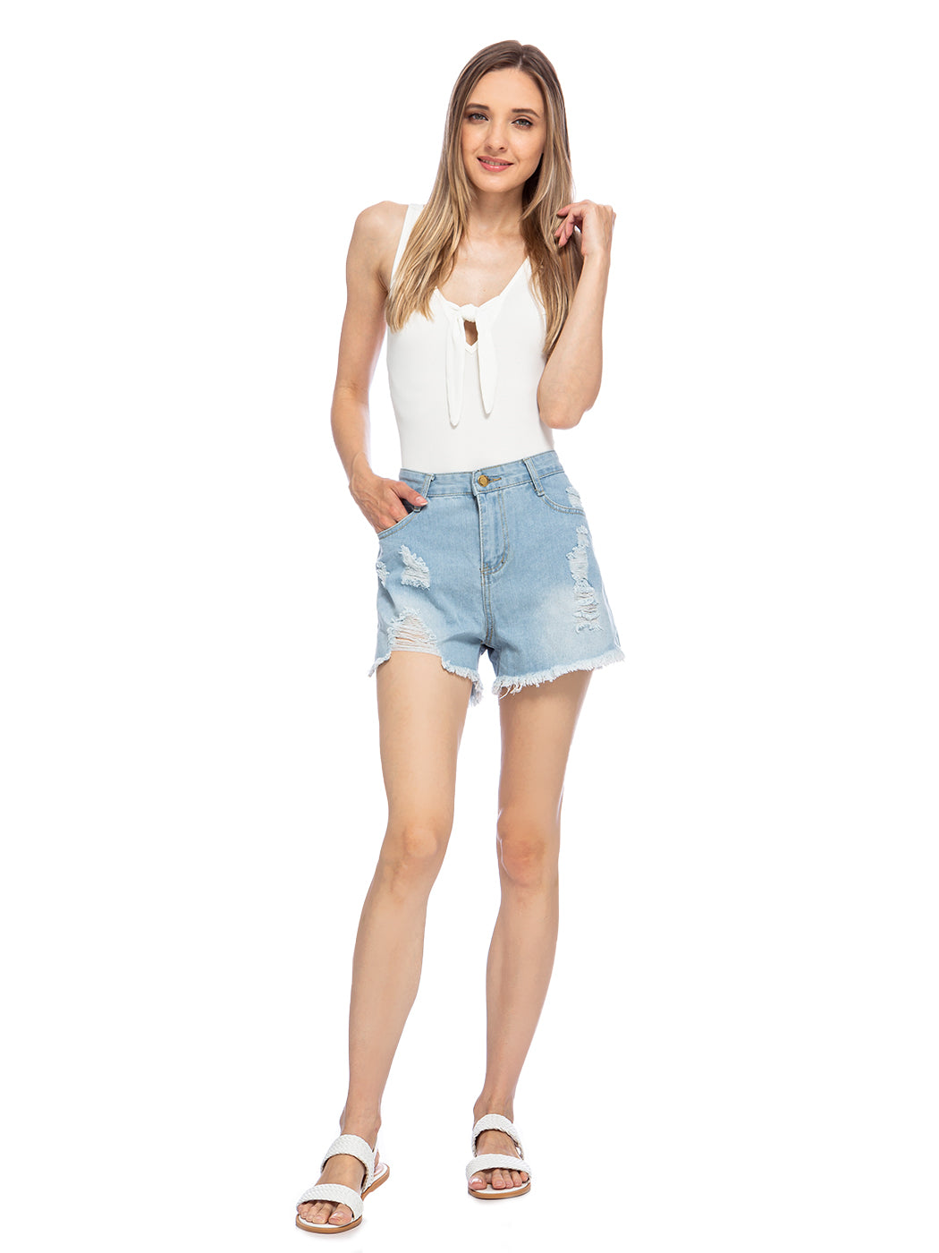 Ripped Mid-Rise Casual Denim Shorts