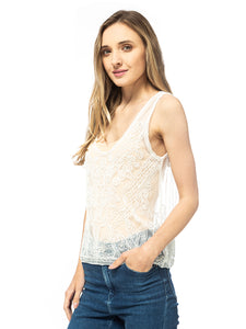 Lace Floral White Tank Top