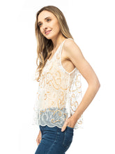 Load image into Gallery viewer, Lace Floral White Tank Top