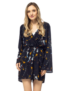 Floral Print Backless Long-Sleeve Romper