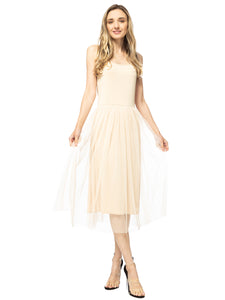 Tutu Tulle Ruffle Midi Dress